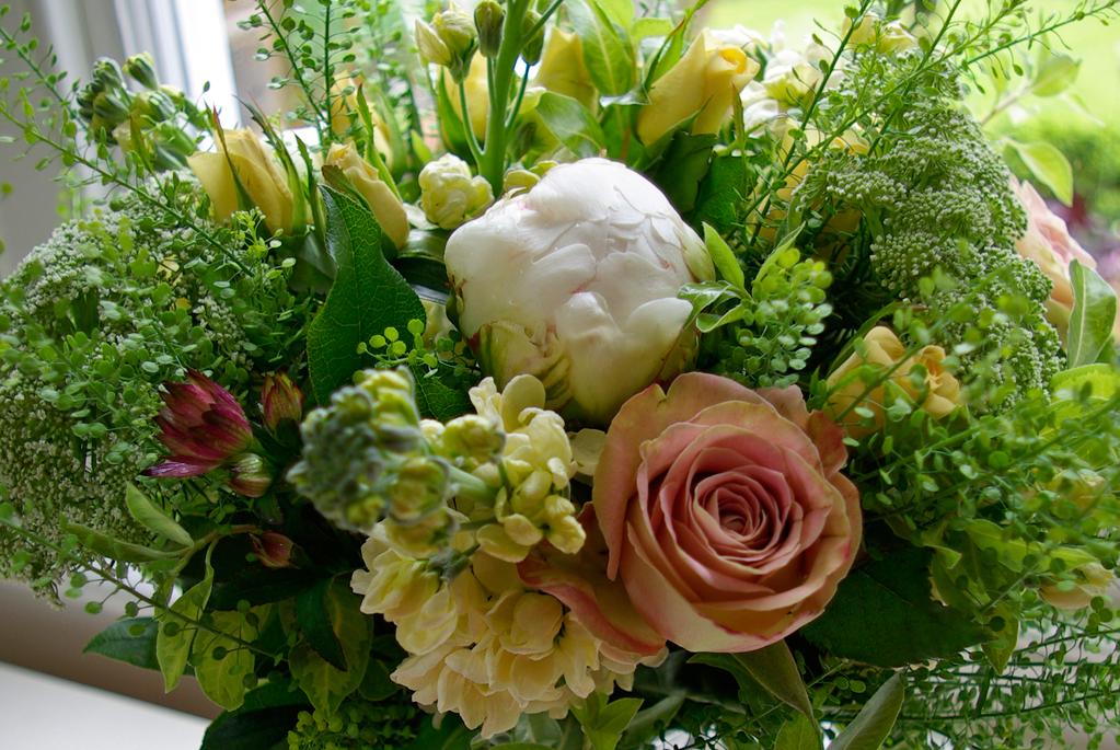 spring bouquet - roses, peonies, stocks