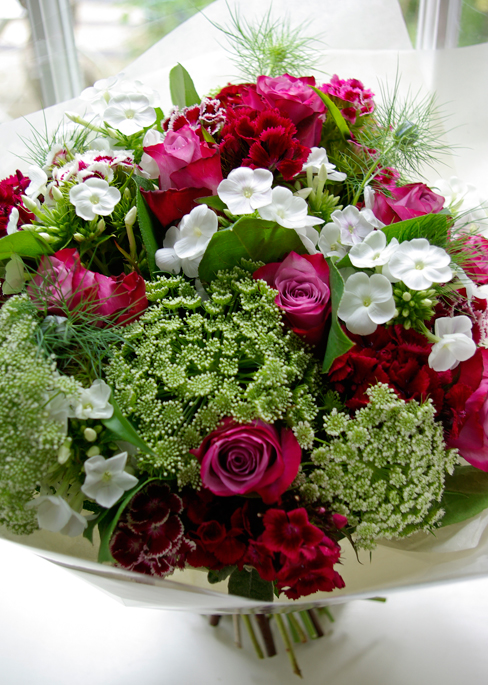 pink & white hand-tied with roses, ammi, phlox, sweet william