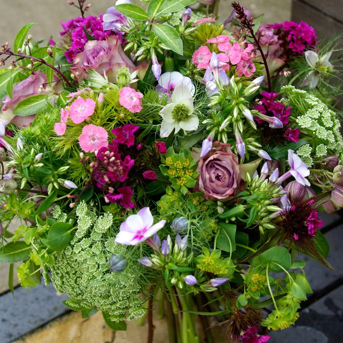 pretty spring hand-tied bouquet