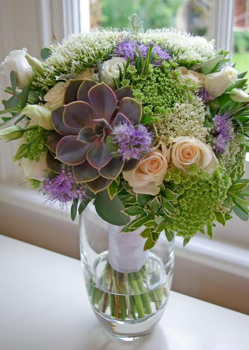 bridal bouquet featuring succulents
