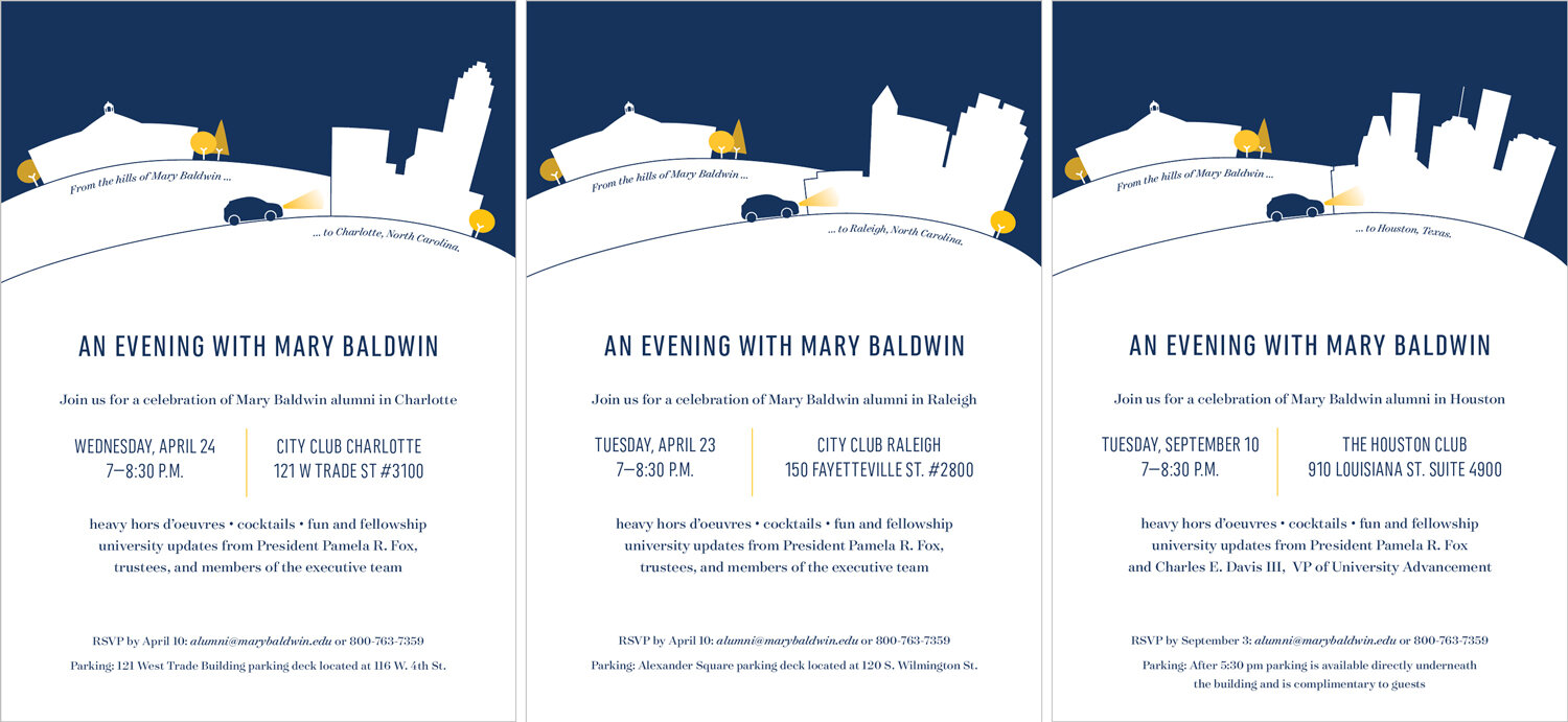 a suite of invitations for stewardship events