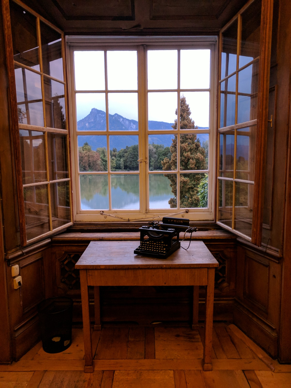 A view of the lake from the writing room of Max Reinhardt, Europe's most famous theater director and co-founder of the Salzburg Festival, who renovated the Schlosse from 1918-1938, before the Nazis confiscated the property.