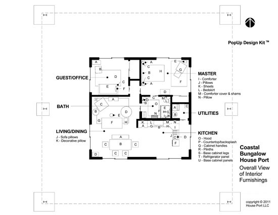 Coastal Interior Design Kit   The Interior House Port Design Kit includes: Overall Furnishings Layout All furnishing elements are keyed with letters that correspond to the Order Information List.