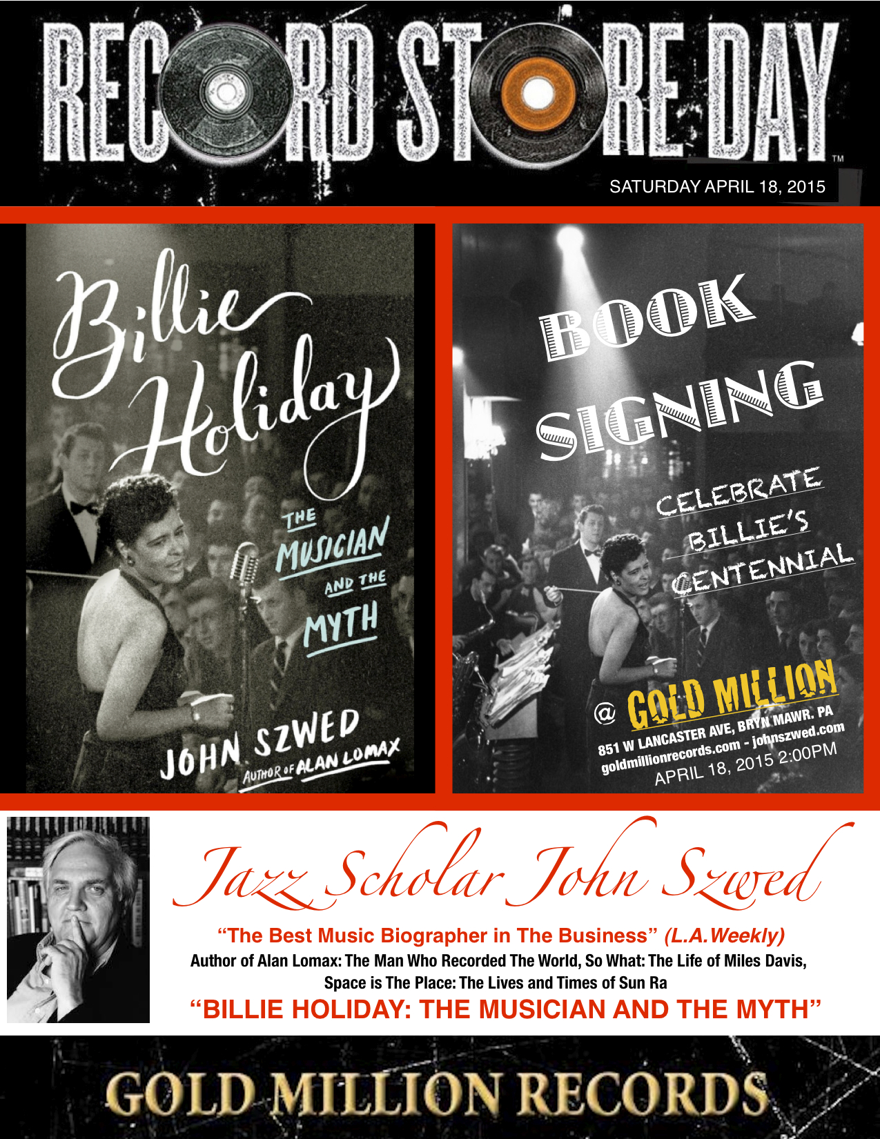 """Record Store Day Special Event @ 2:00pm. """"best music biographer in the business"""""""