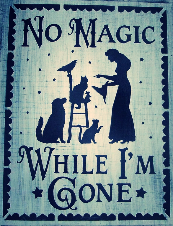 This image is actually a wooden sign you can buy from Sleepy Hollow Prims. Click on the image to find purchase info and check out her store for other super cute witch themed art.