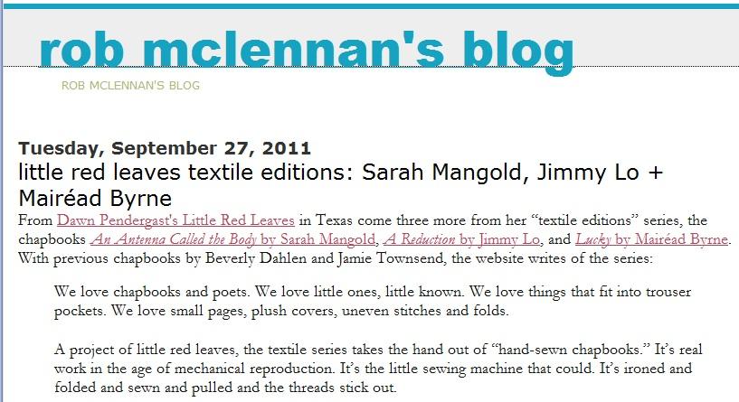 LRL Textile Reviews on rob mclennan's blog