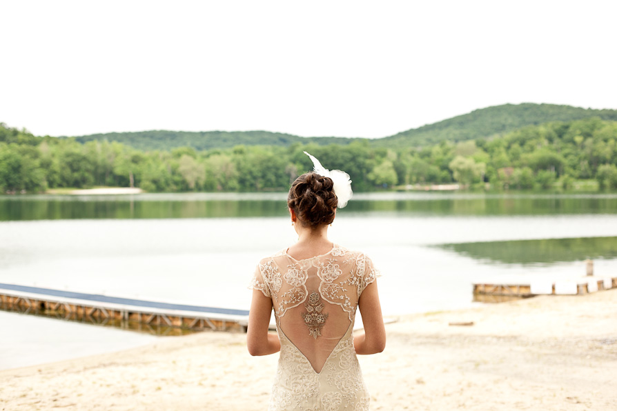 The beautiful detail of the back of a brides dress, captured at an upstate wedding.