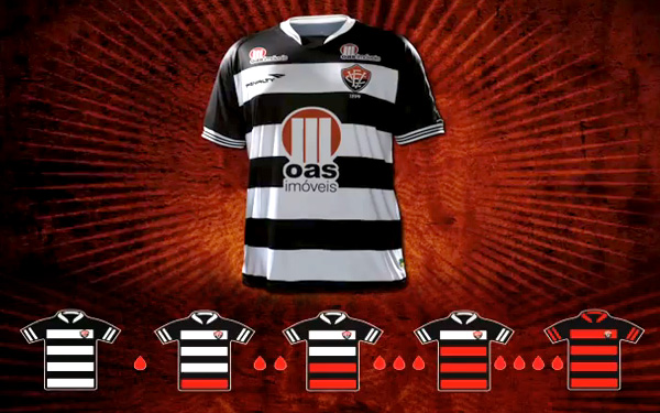 BRAZIL: Soccer team Vitoria 'drained' the red hoops from their home strip to raise awareness and get their fans to donate blood.
