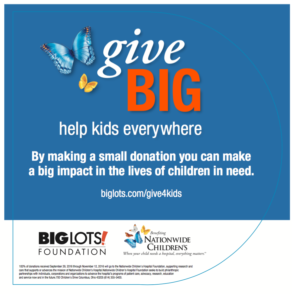 Big Lots Charity Pinup for the 2016 Program