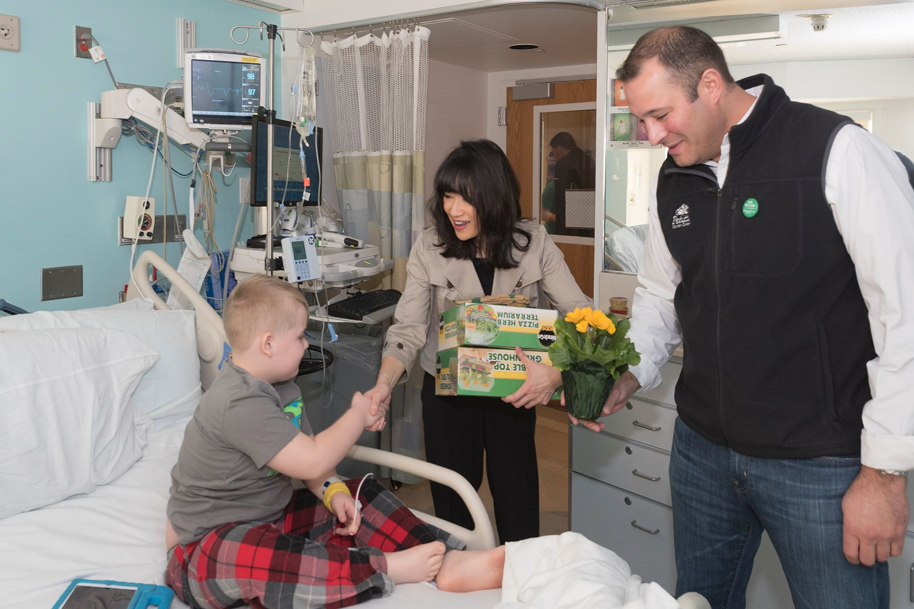 A. J. Petitti visits with patients at Cleveland Clinic's Children's Hospital