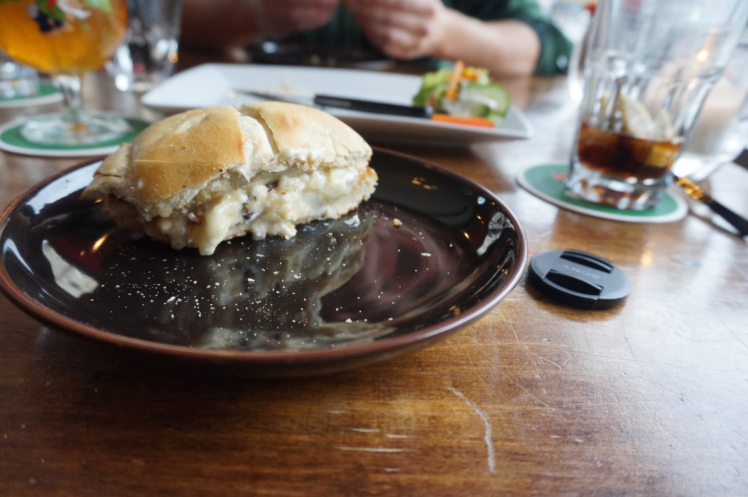 Yum! This was such an amazing sandwich —goat cheesewith honey and walnuts!