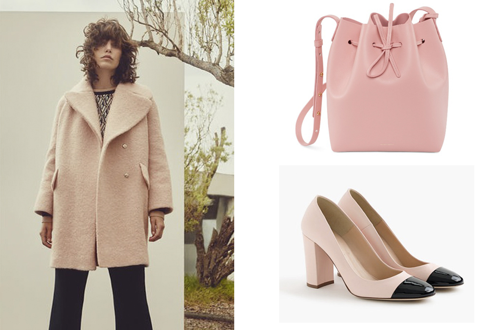 Whistles  Penny Double Breasted Coat £350                                Mansur Gavriel  bag in Peony $695 &  J. Crew  Lena Leather                                                                       Pumps with patent cap toe $258