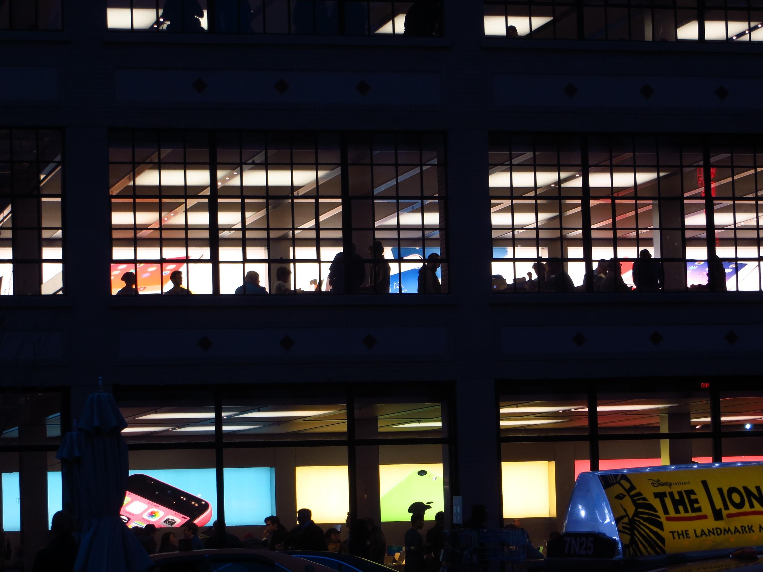 Apple Store after dark