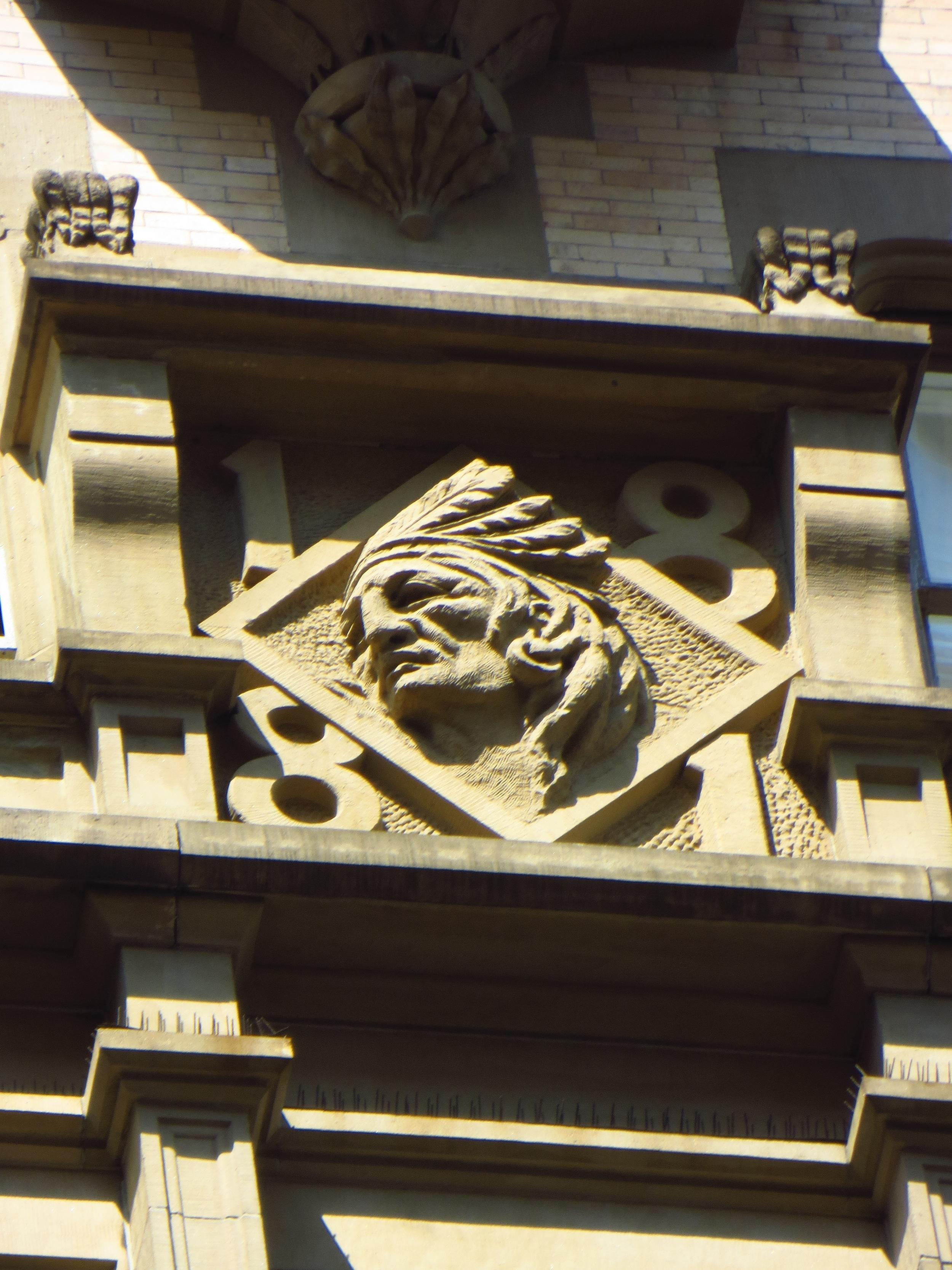 Indian head bas relief on the Dakota