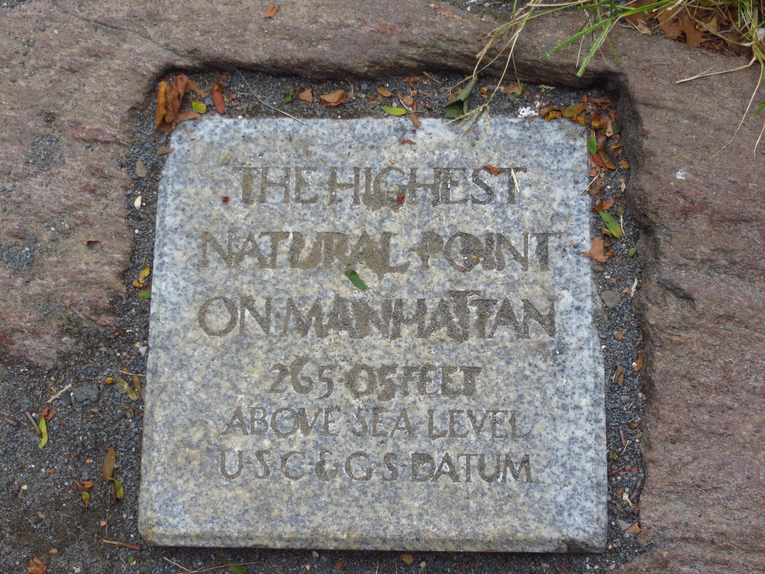 The highest natural point on Manhattan