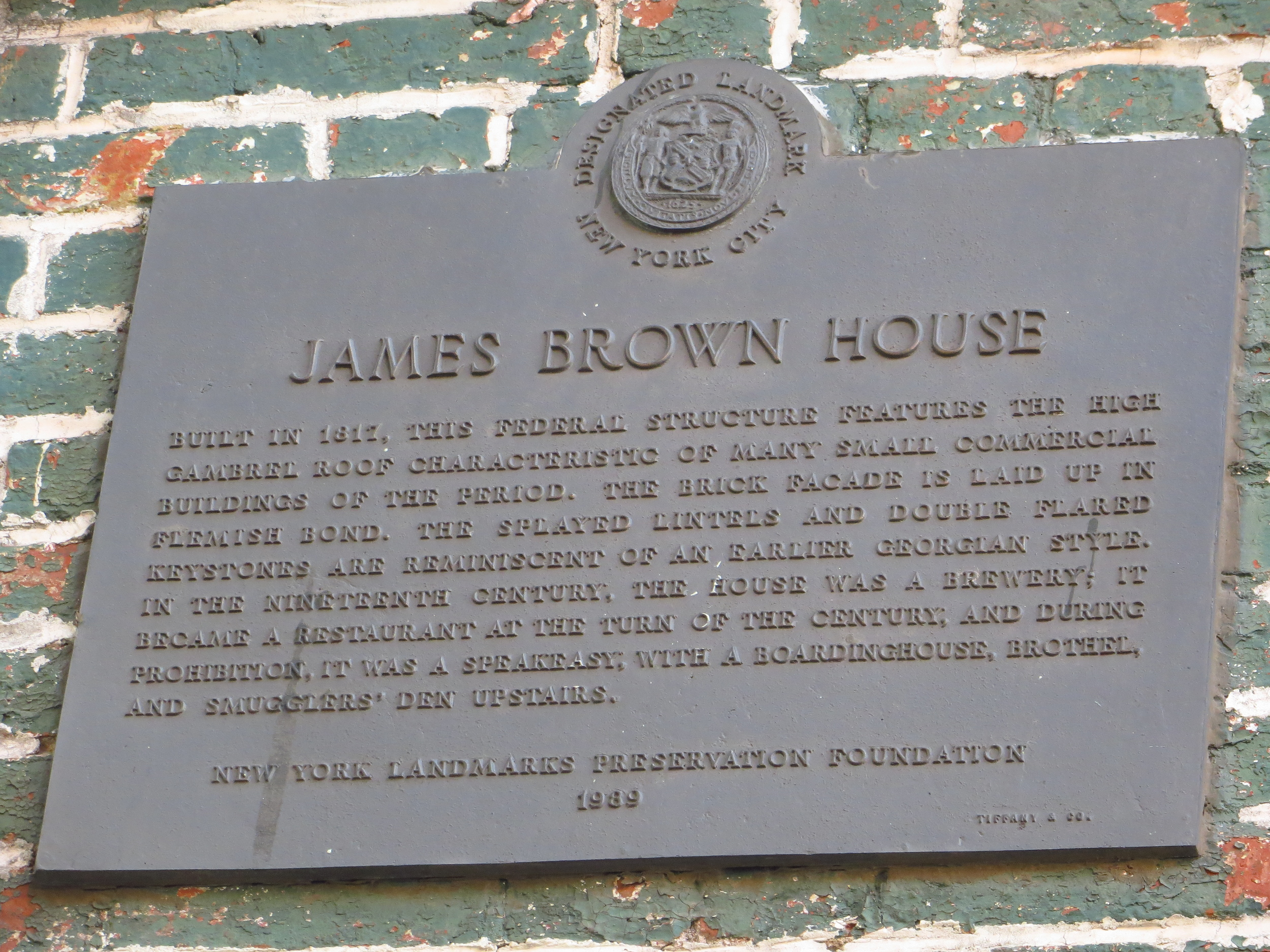 Ear Inn / James Brown House history