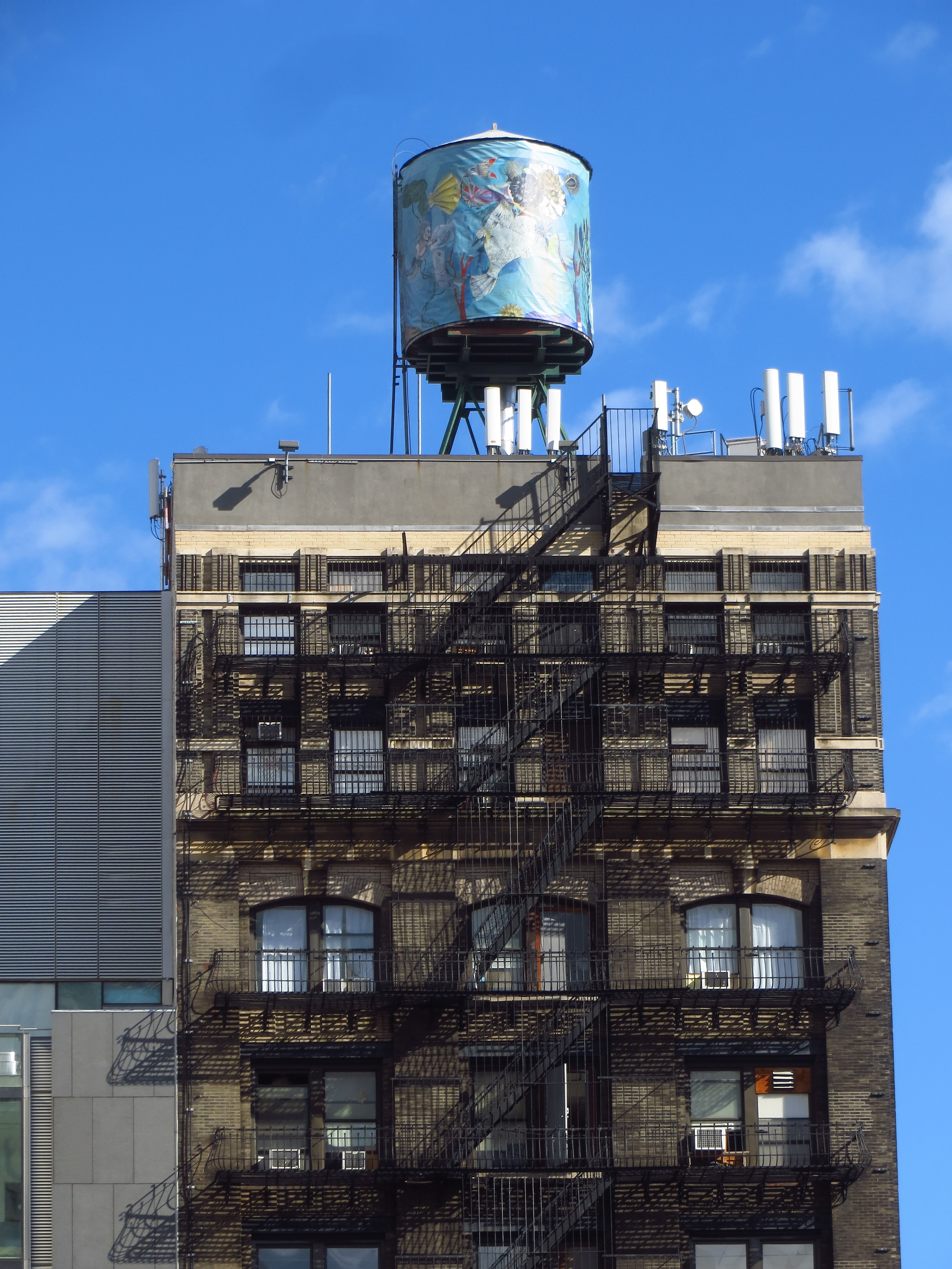 Decorated water tower