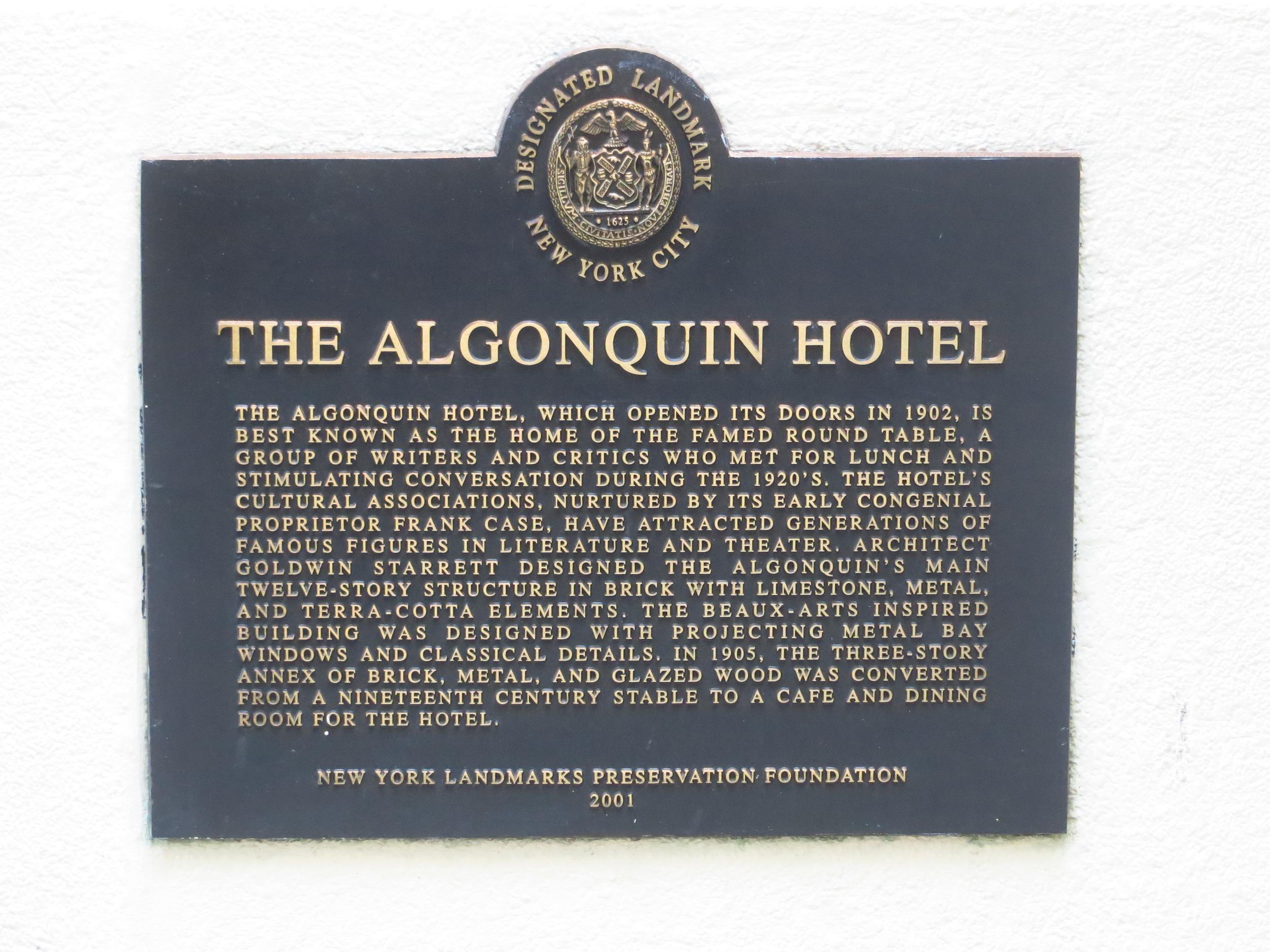 Algonquin Hotel history pt. I