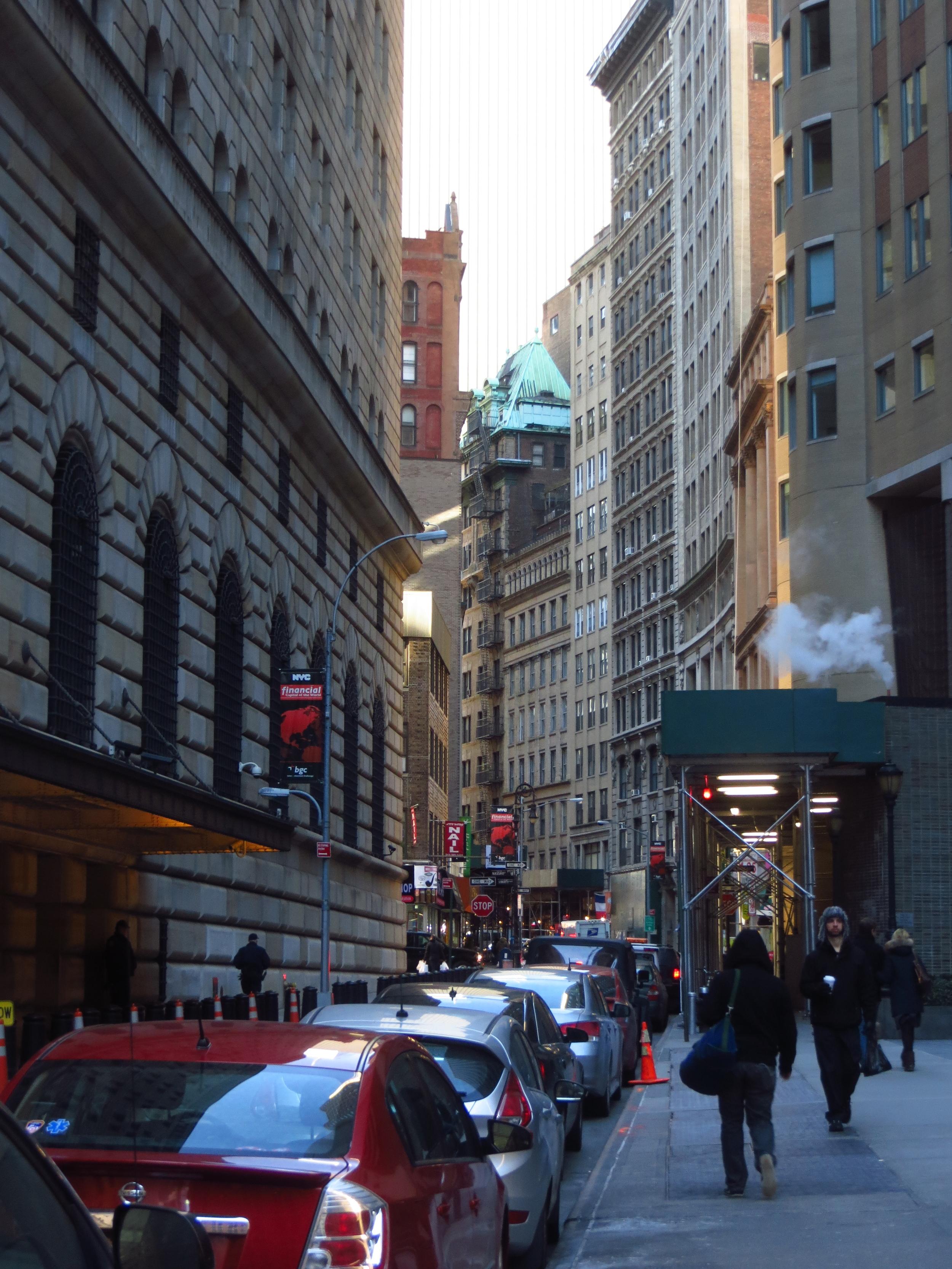 Typical narrow street in lower Manhattan