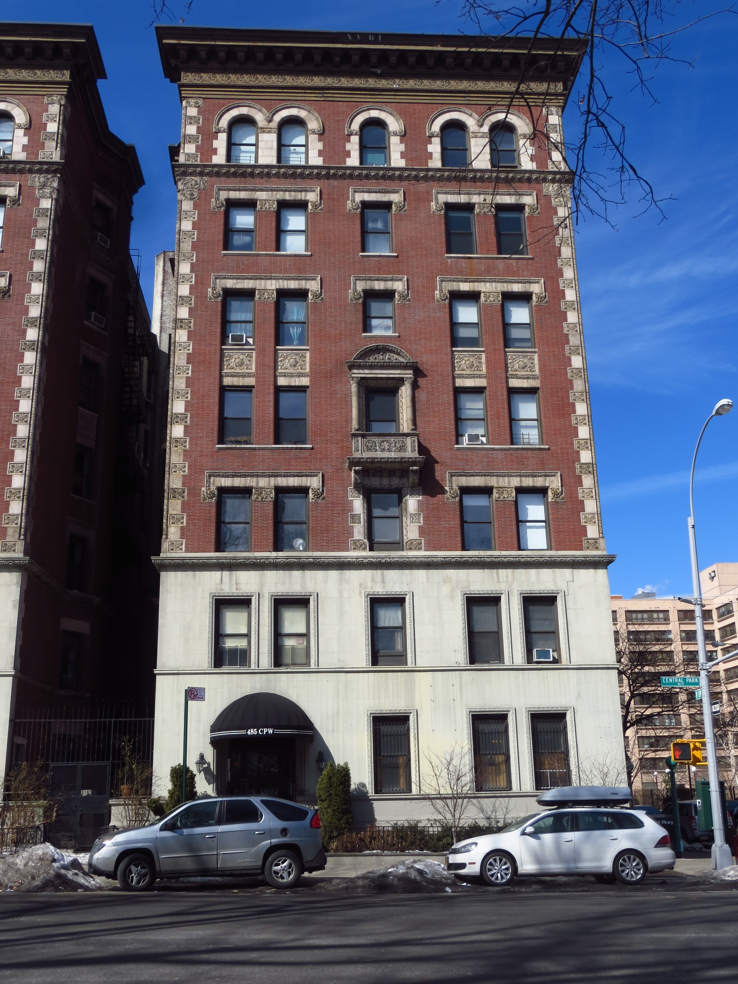 Beginning of Central Park West apartment buildings