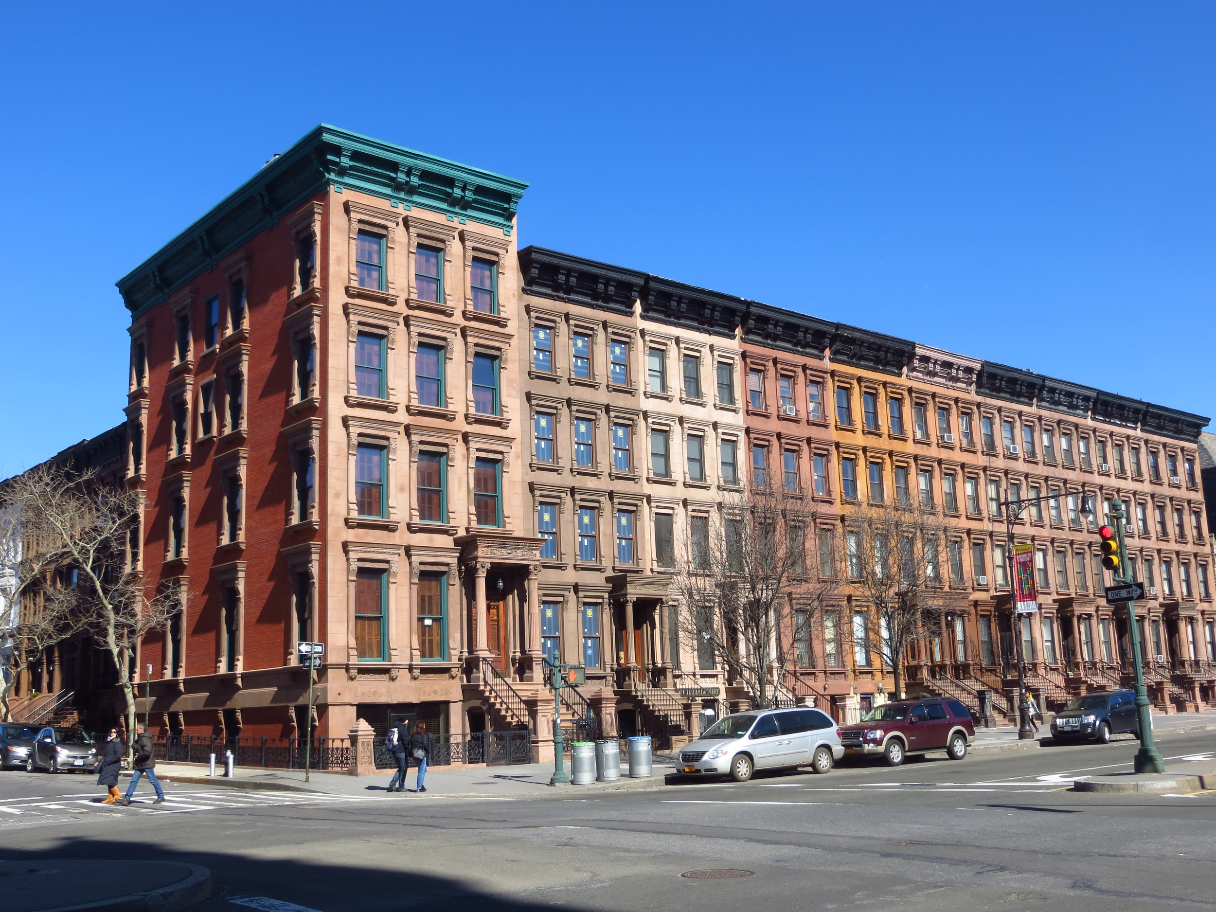 Cool block of brownstones from a slightly different angle