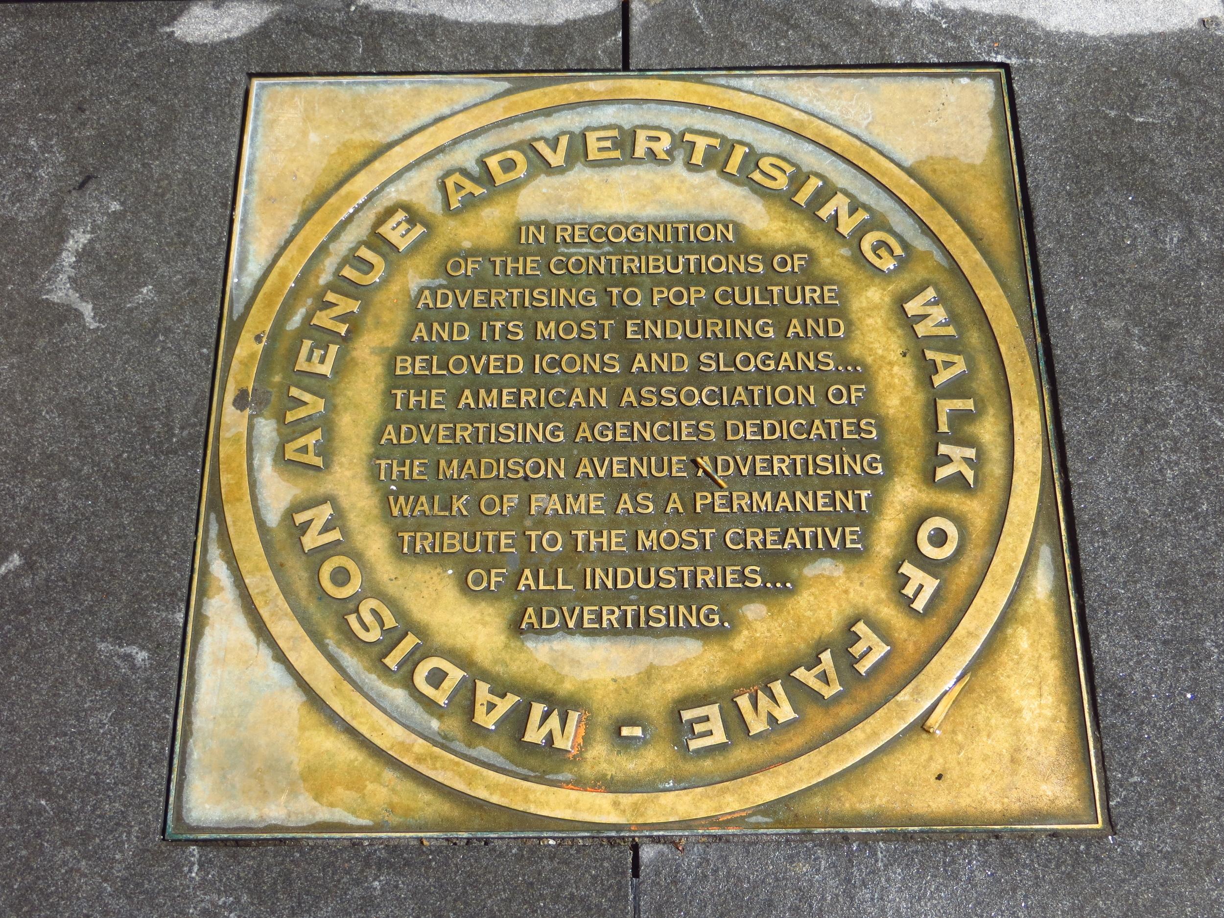 Madison Avenue Advertising Walk of Fame