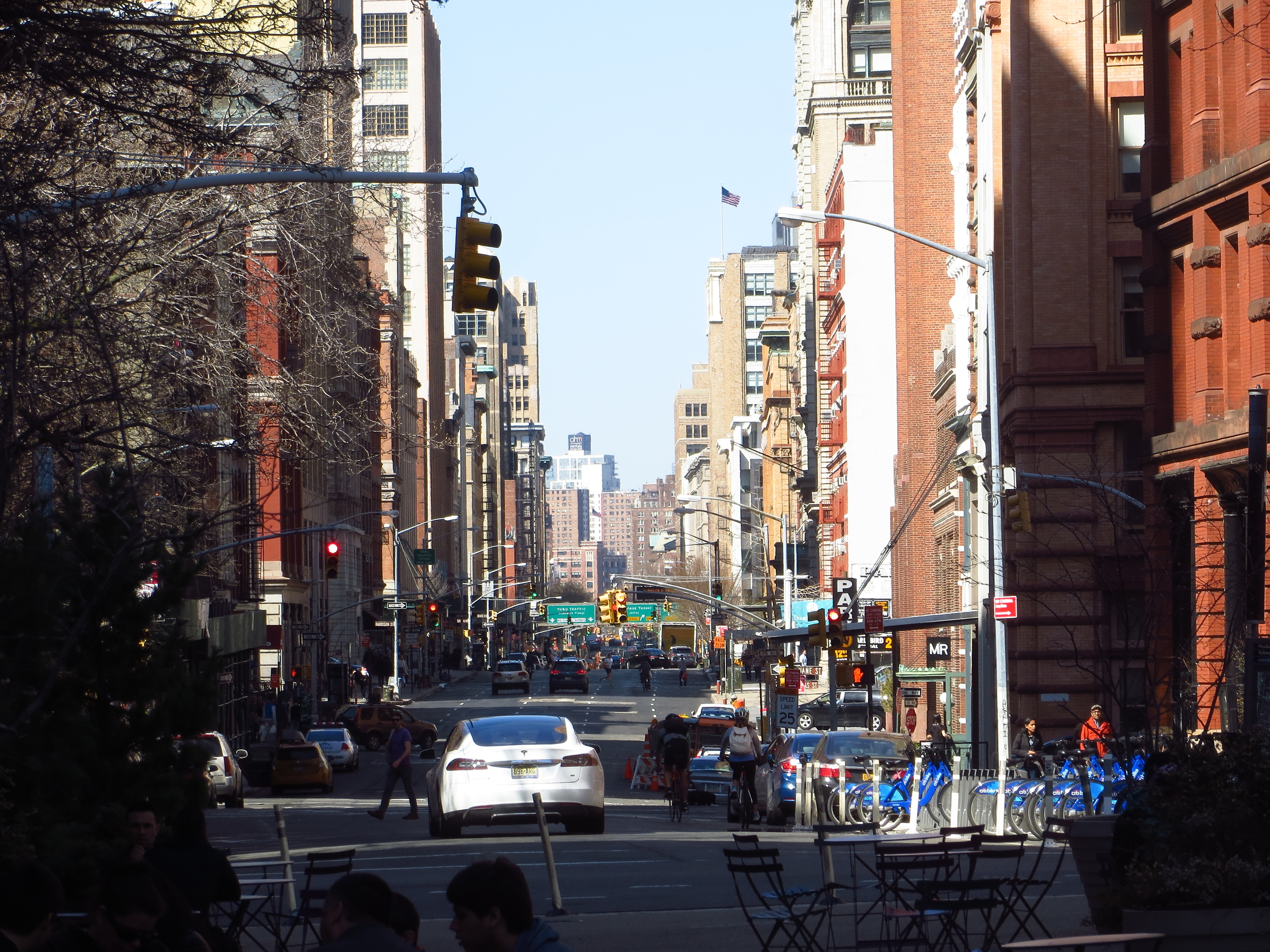 View up Hudson St.