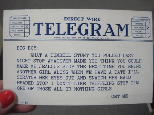 Vintage telegram bought at Broadway Antique Market for $1
