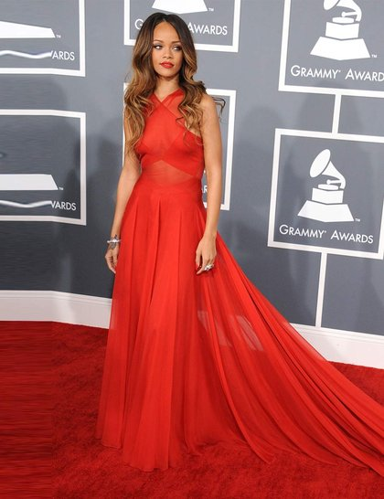 Wearing a custom-made Azzedine Alaia dress to the 2013 Grammy Awards ceremony, February 2013