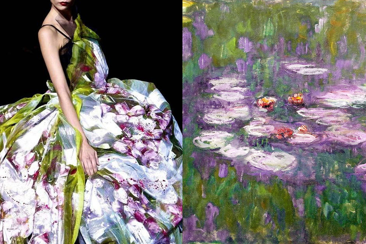 Dolce & Gabbana Spring 2008; Water Lilies (series, detail),painting by Claude Monet.