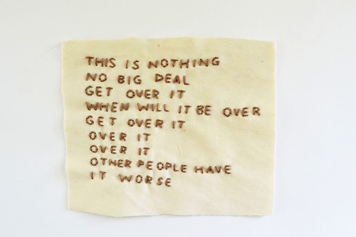 Thoughts About my Assault Embroidered onto my Mascara-Stained Pillowcase by Lindsay Bottos, 2014