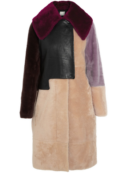 3.1 PHILLIP LIM PATCHWORK SHEARLING AND LEATHER COAT. $4,500