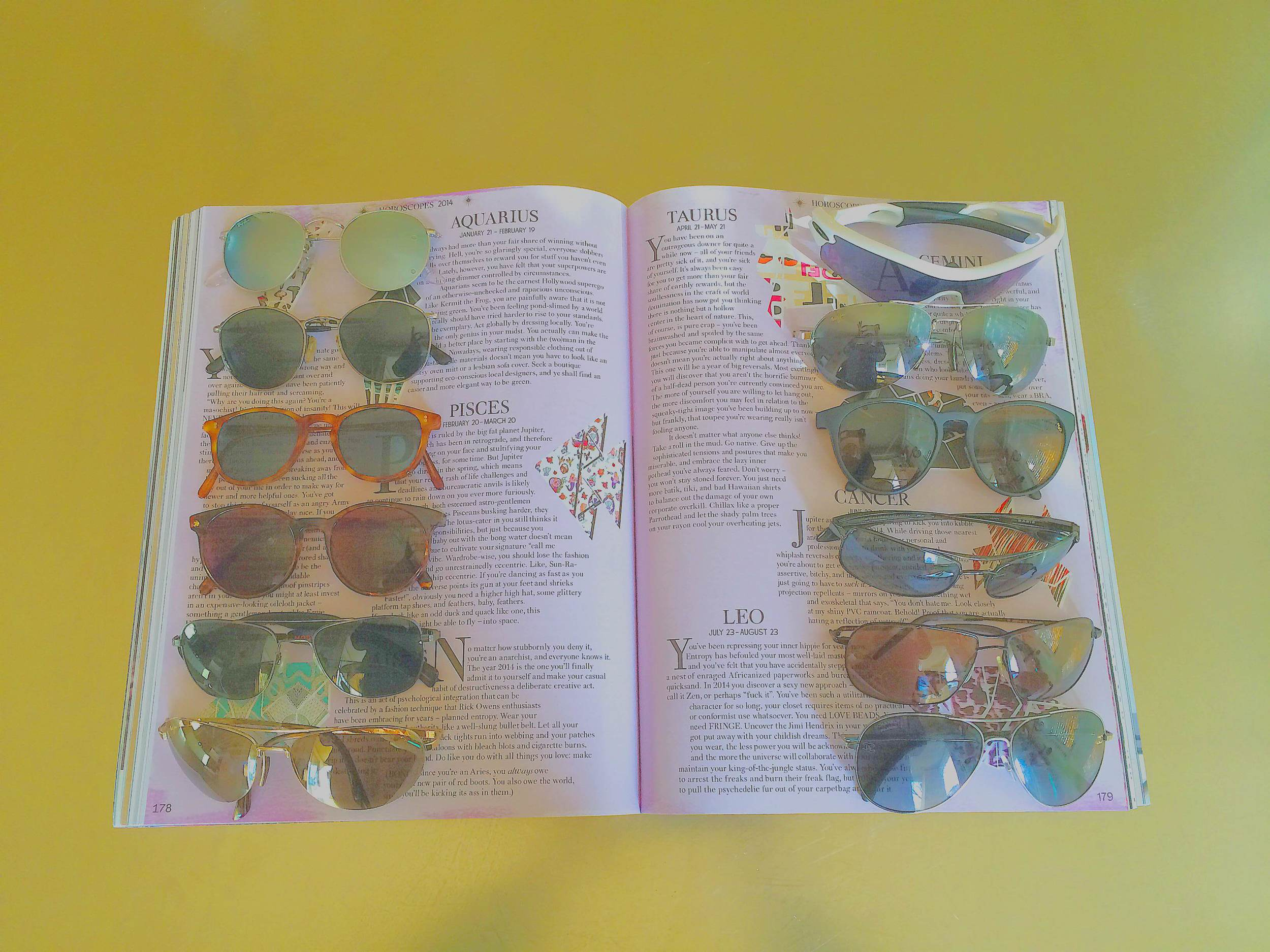 MOLLY'S COLLECTION PHOTOGRAPHED IN VOLUME 6 OF  GARAGE MAGAZINE  (LEFT COLUMN:  RAY BAN , VINTAGE GIORGIO ARMANI,  OLIVER PEOPLES , REVO, MOSLEY TRIBES, MAUI JIM.RIGHT COLUMN: OAKLEY, MAUI JIM, REVO, KAEON, OLIVER PEOPLES,  CHANEL ).