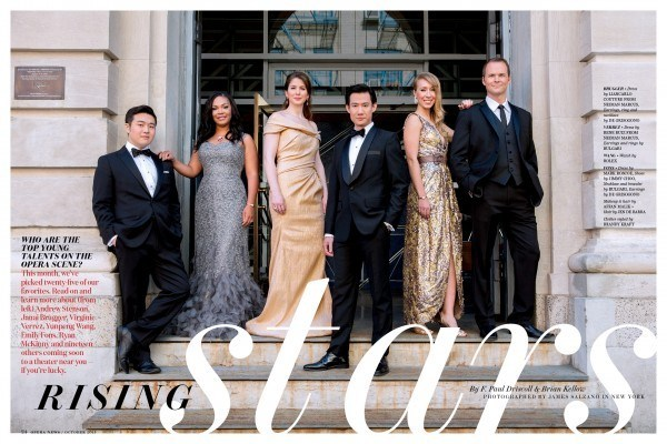 From left: Andrew Stenson tenor, Janai Brugger soprano, Virginie Verrez mezzo-soprano, Yunpeng Wang baritone, Emily Fons mezzo-soprano, Ryan McKinny bass-baritone.