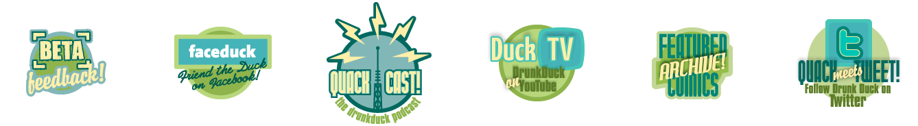 A series of badges designed for DrunkDuck.com, to serve as branding elements for the various content sections of the site.