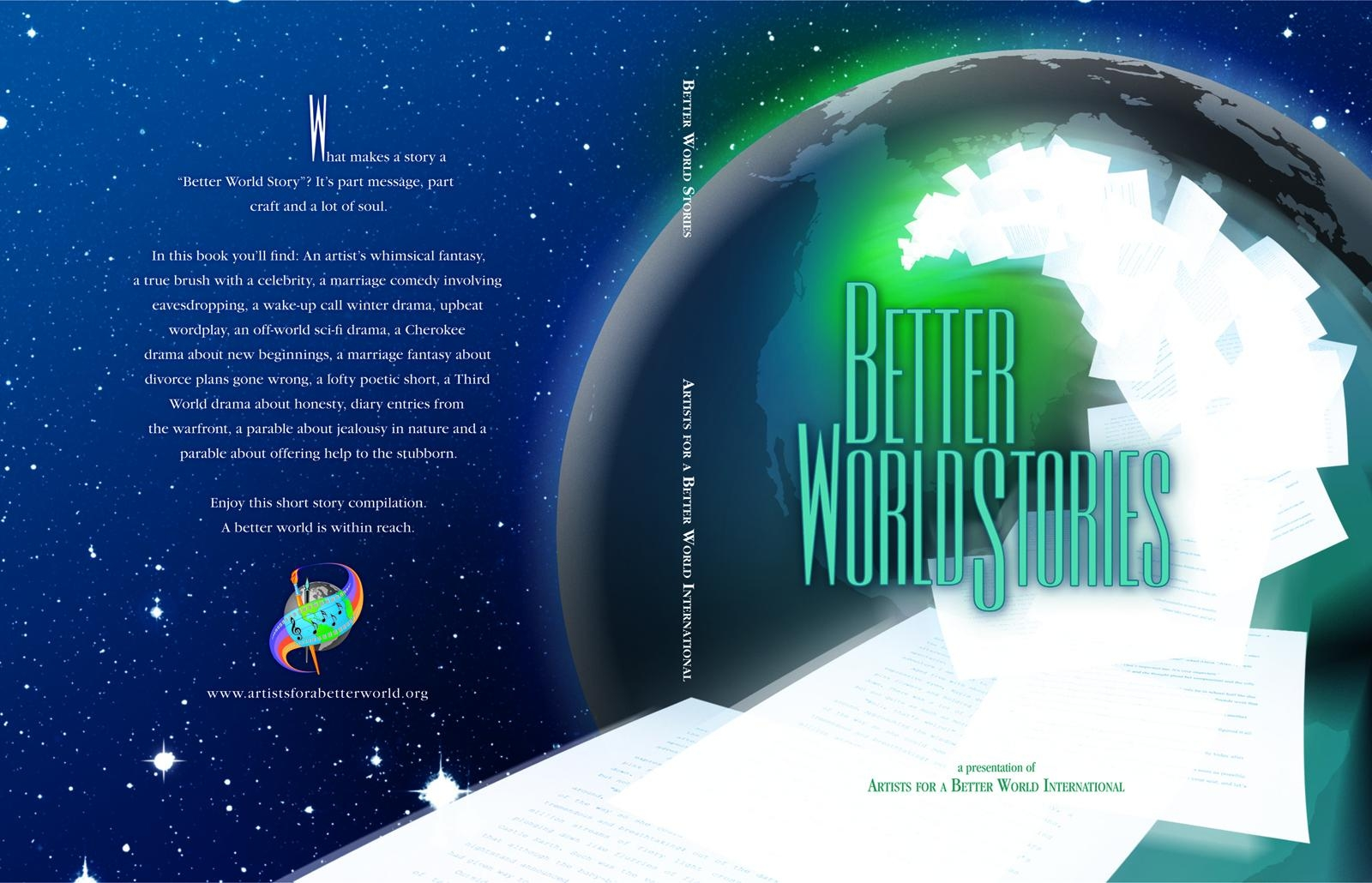 Wraparound cover art and layout for a short story anthology. Click to enlarge.