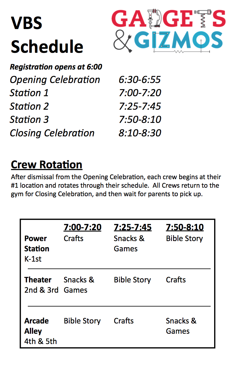 K-5th Schedule.
