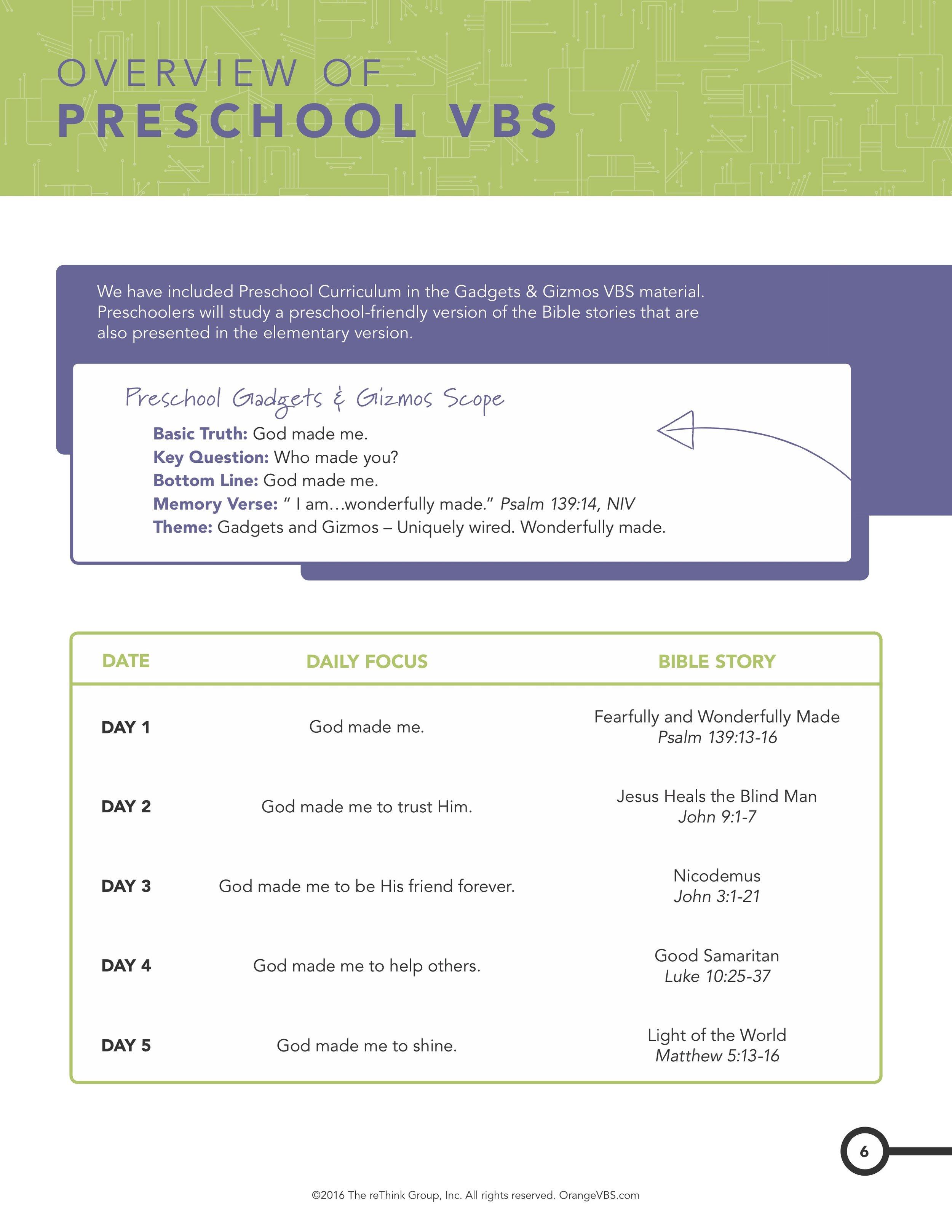 Preschool VBS Overview.