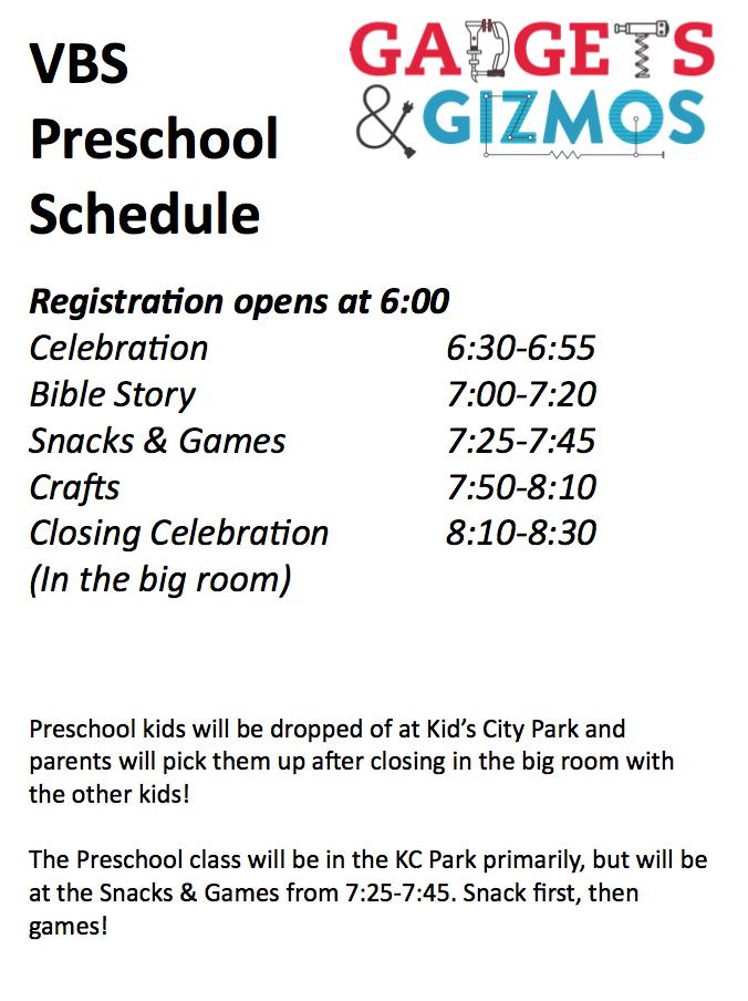 VBS Preschool Schedule.