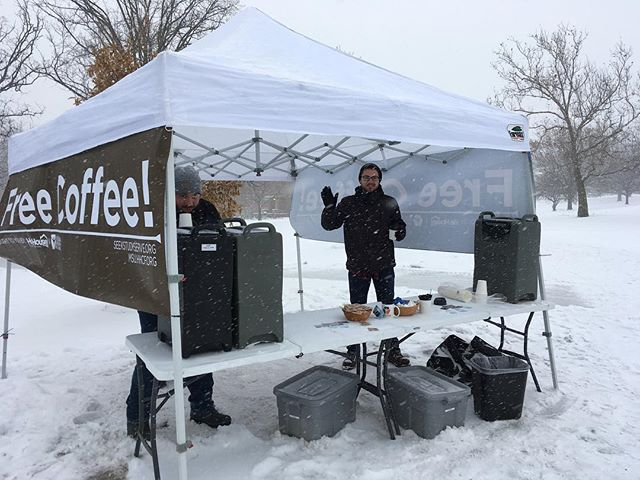 A few inches snow doesn't faze us! Come grab a cup on your way to finals. #coffeeoncampus #freecoffee #spartanswill