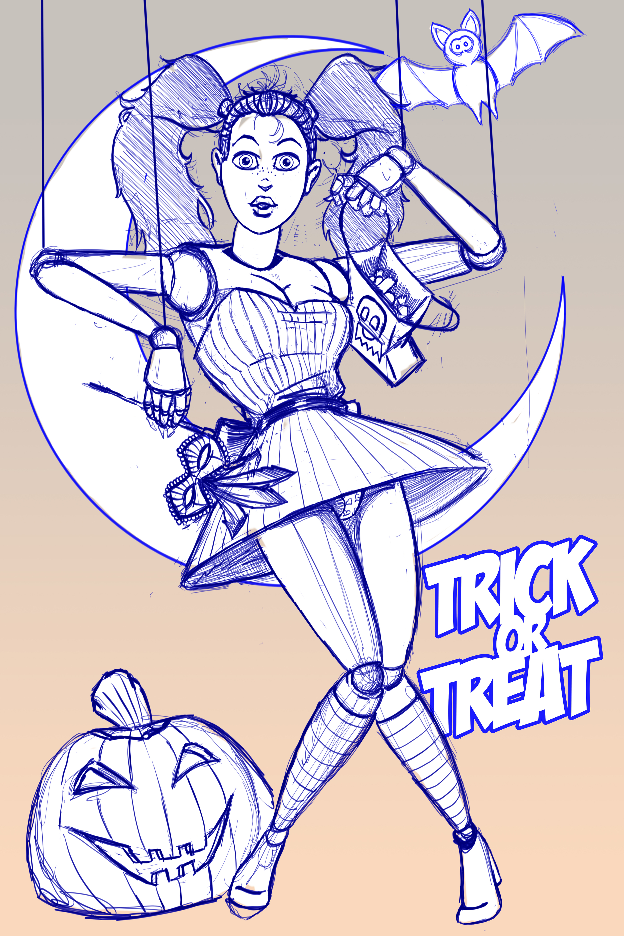 Quick sketch of a halloween marionette.  (Repost)