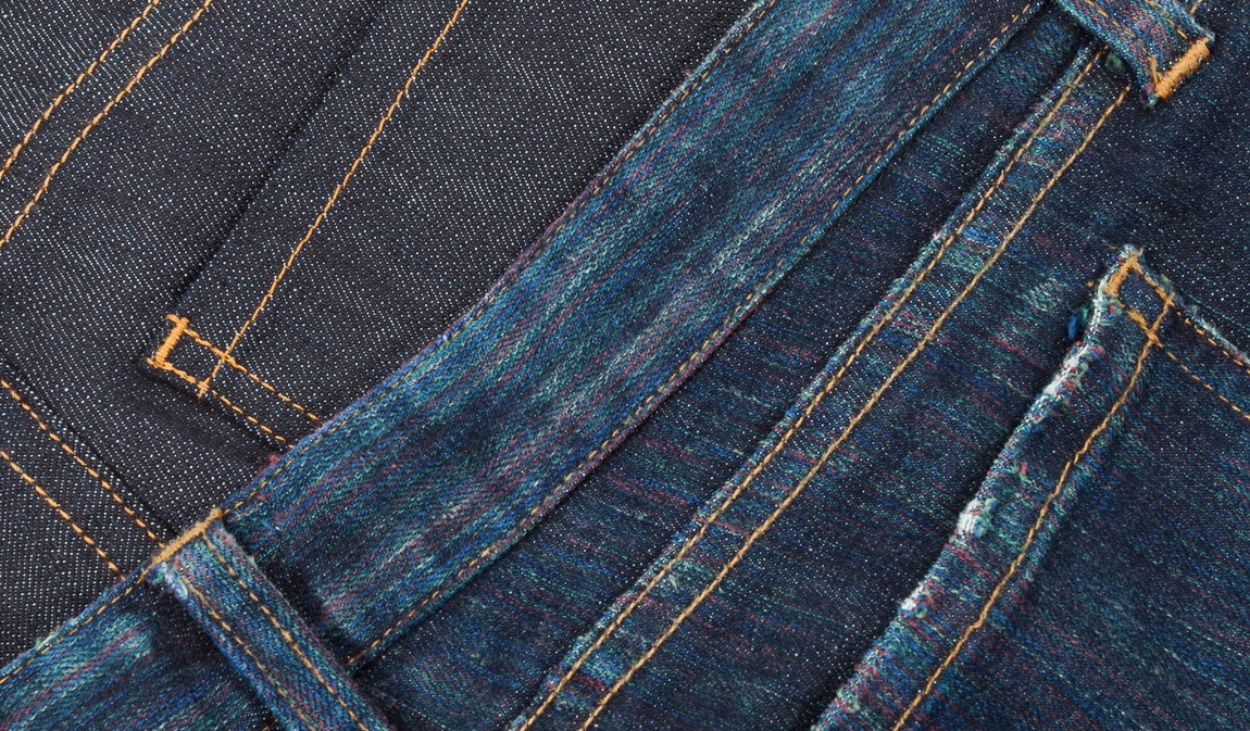 Gay Jeans are made from denim dyed with conventional indigo color like normal jeans, but wash & wear gradually exposes the rainbow-hued yarns underneath the surface.
