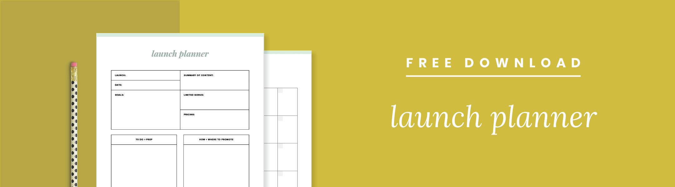Free Launch Planner download –Paper + Oats –www.paperandoats.com
