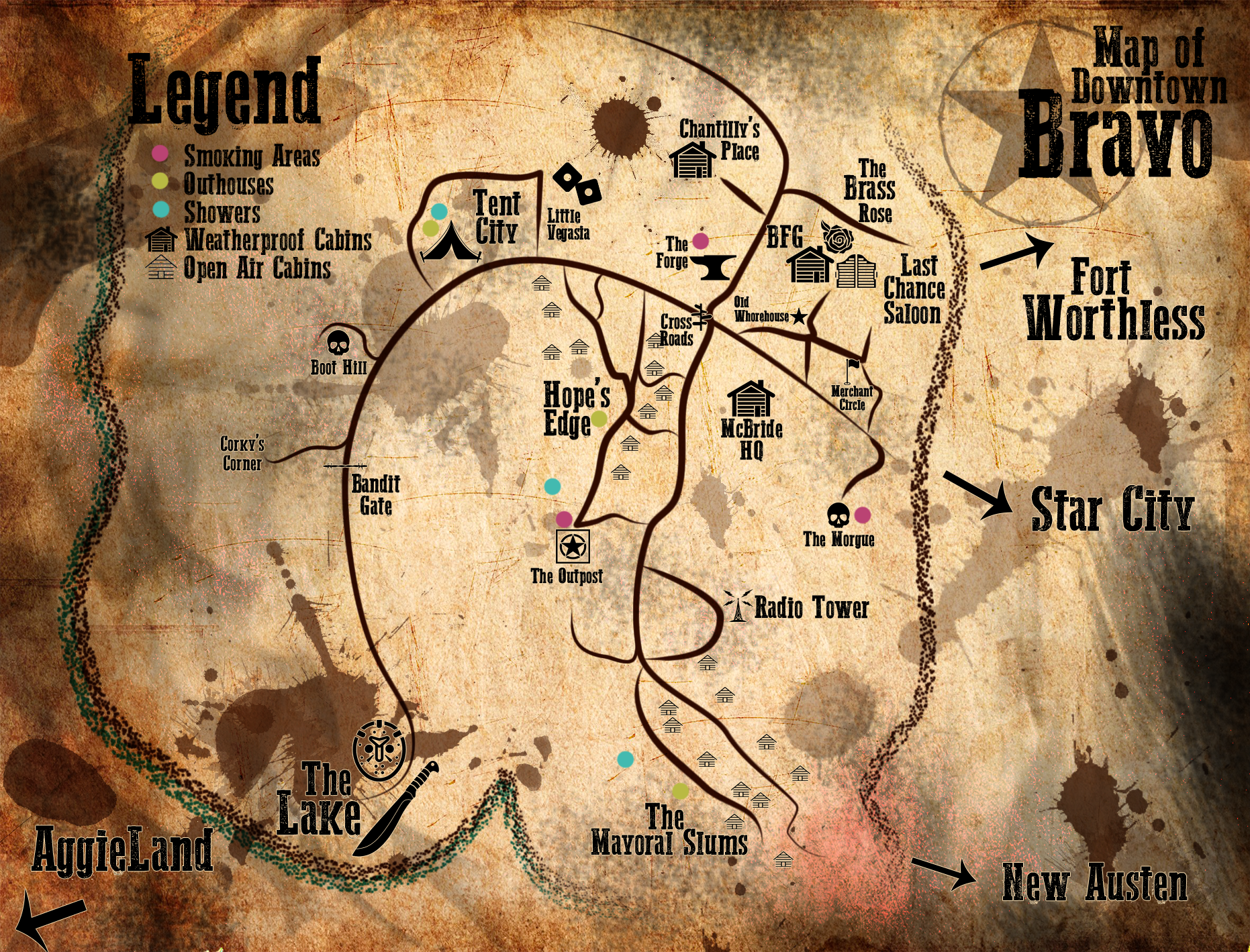 A complete map of Bravo, courtesy of Theresa Garcia and Anastasia Marston