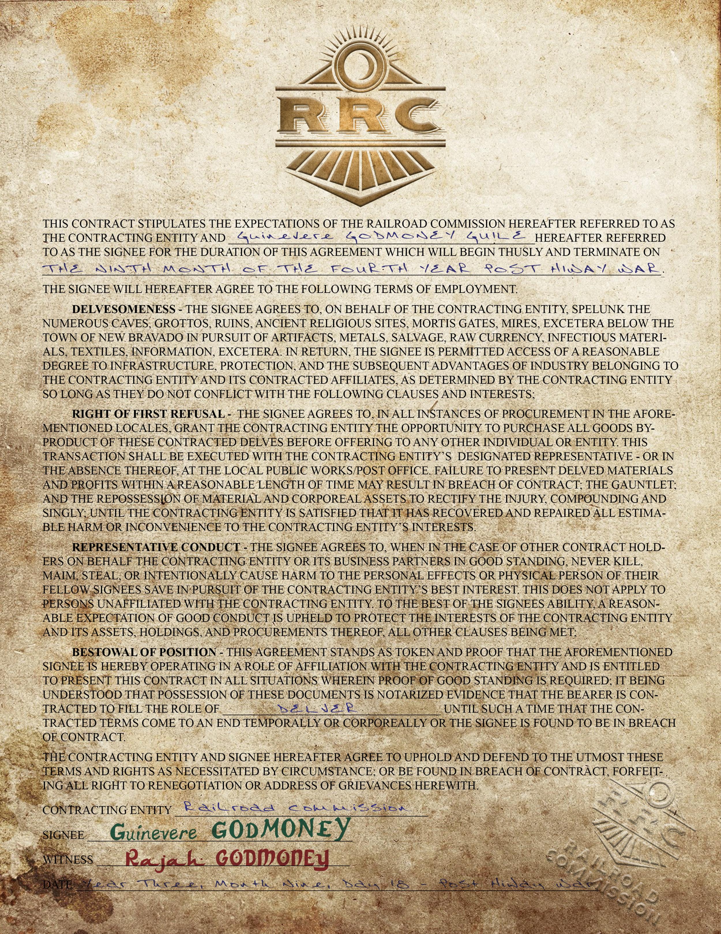 Sample Railroad Commission Contract