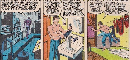 Perhaps the first time we see a superhero doing laundry.
