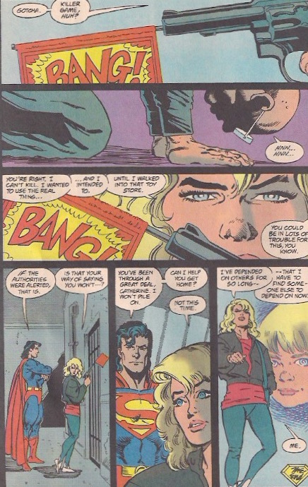 Was Superman going to let her shoot Toyman or did he use his x-ray vision?