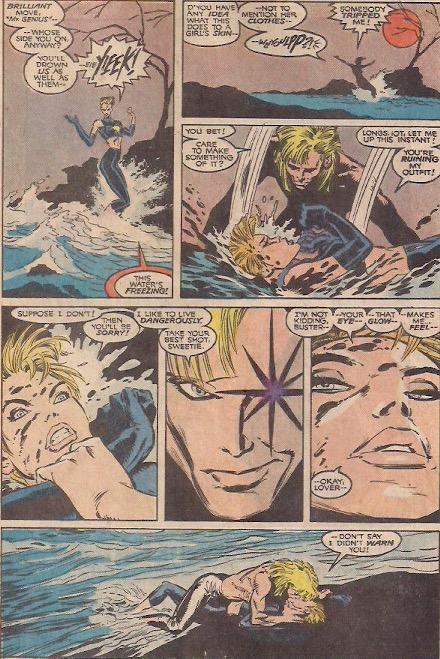 """Darling, this battling superhero team thing is so boring. Kiss me"""