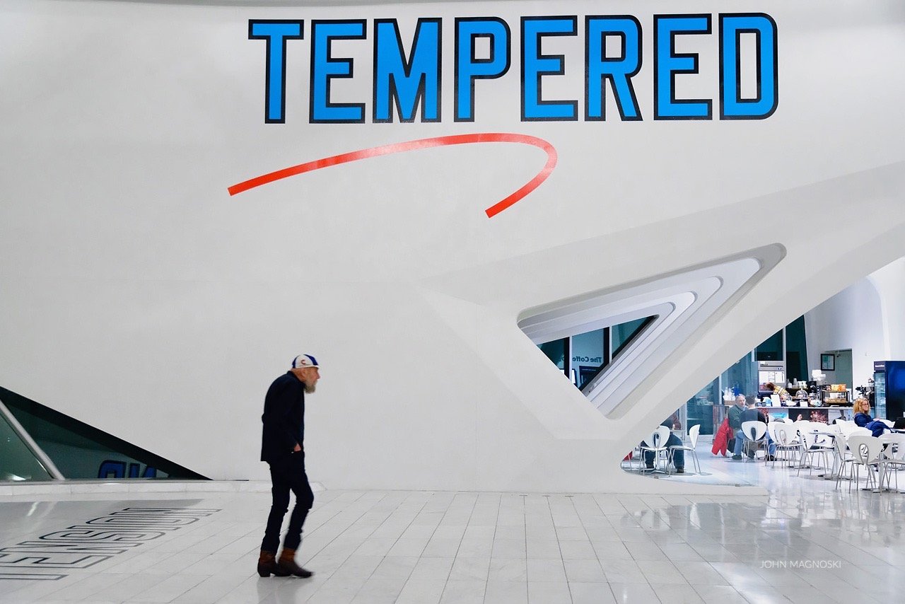 Artist Lawrence Weiner as he inspects his art installation at the Milwaukee Art Museum on opening night.  |  January 19th, 2017