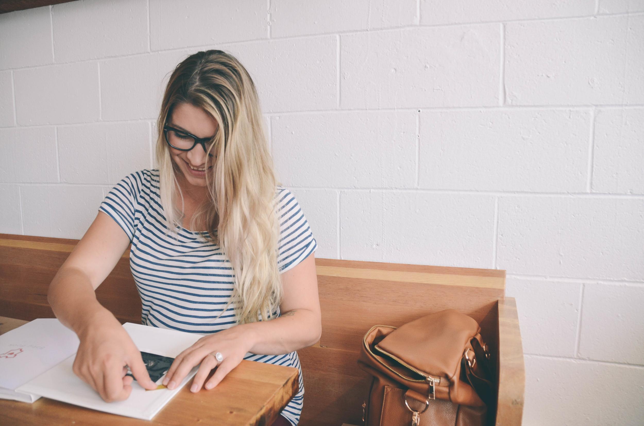 Codi Lynn filling out her Mushybook